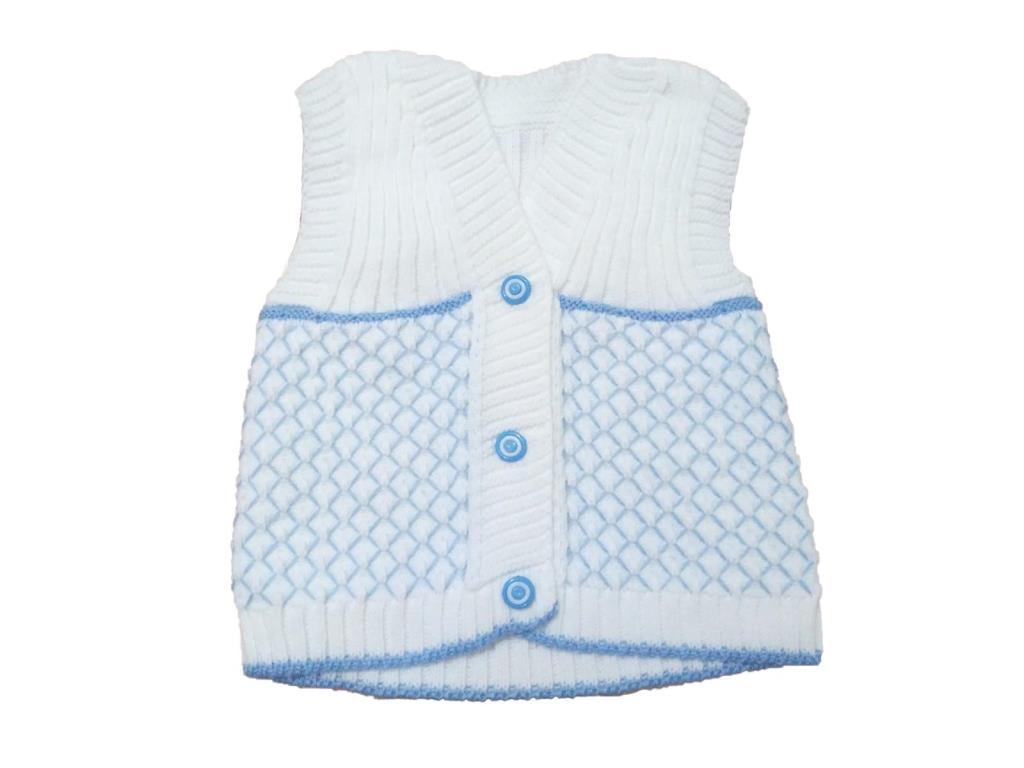 1 Yaş Erkek Bebek Kolsuz Yelek Mavi Beyaz Erkek Bebek Yelek