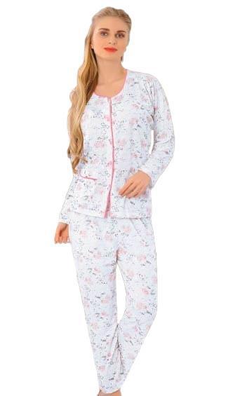 Aysu 1100 Önden Bütün Düğmeli Bayan Uzun Kol Pijama Takımı