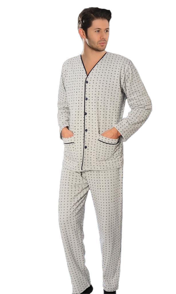 Aysu 2050 Önden Bütün Düğmeli Erkek Penye Uzun Kol Pijama Takımı