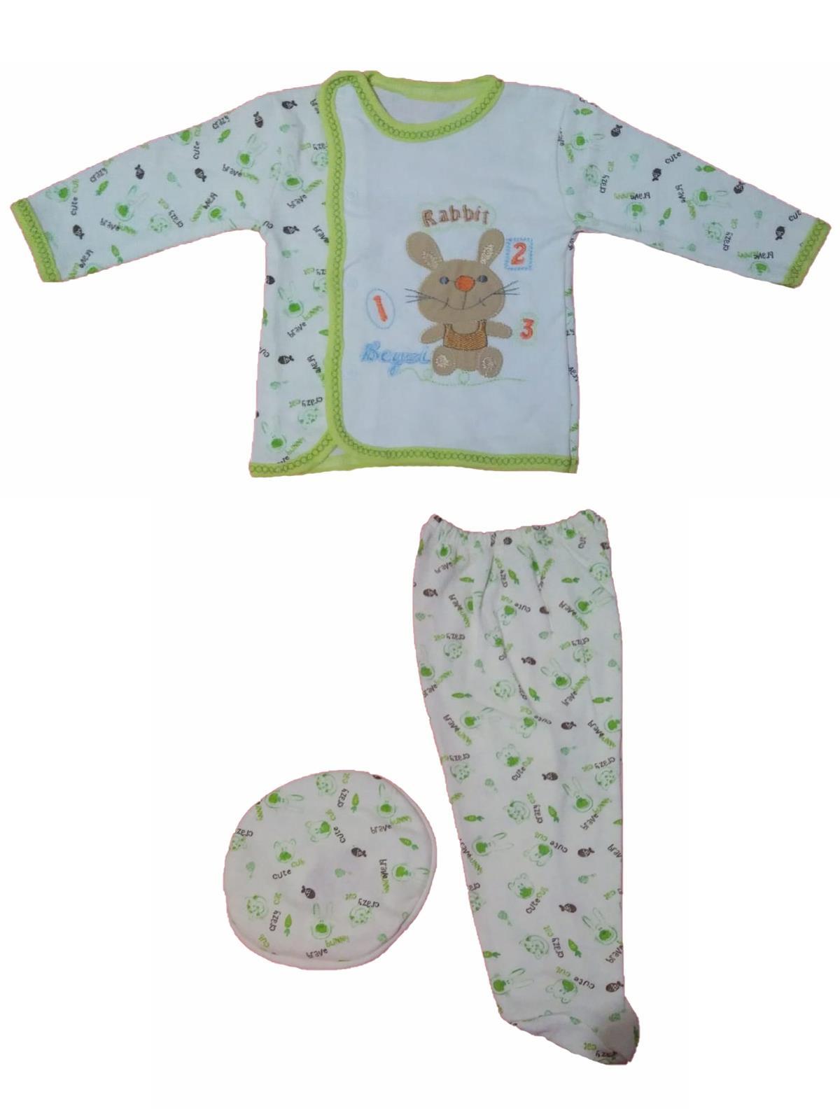 Beyzi Bebek Pijama Takımı Ayaklı Şapkalı 3 Parça 0-6 Aylık 4 RENK