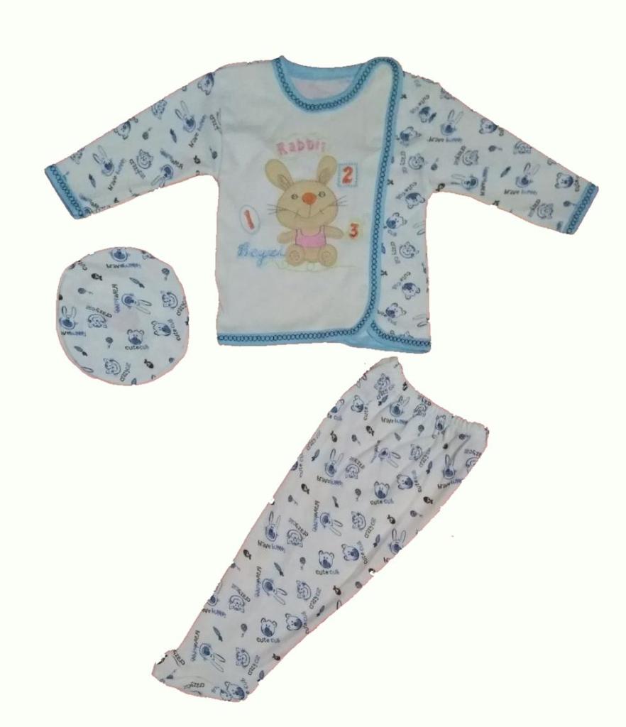 Beyzi Erkek Bebek Pijama Takımı Ayaklı Şapkalı 3 Parça 0-4 Aylık