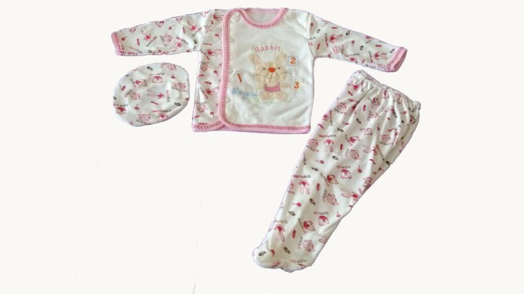 Beyzi Kız Bebek Pijama Takımı Ayaklı Şapkalı 3 Parça 0-3 Aylık