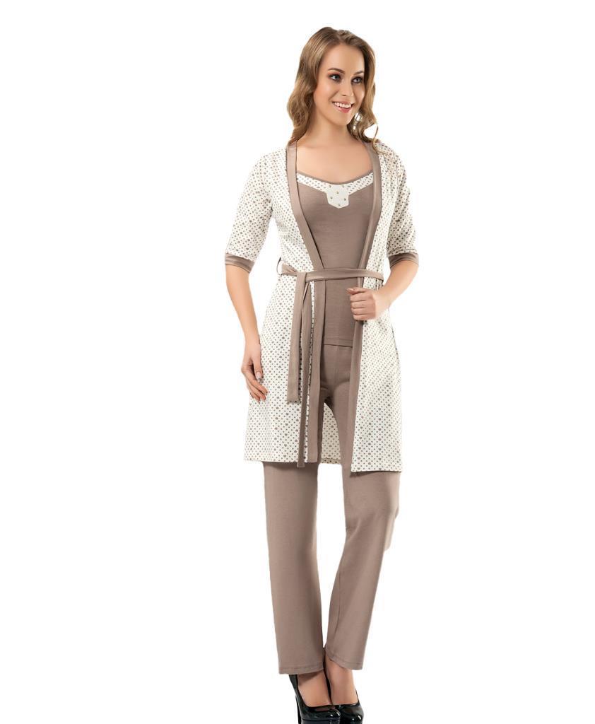 Derya Kurşun 1016 Bayan Puanlı Sabahlıklı Pijama Takımı