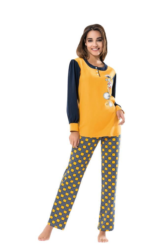 Derya Kurşun 1100 Bayan Puanlı Uzun Kol Pijama Takımı
