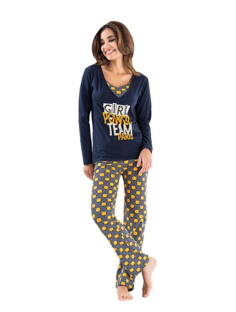 Derya Kurşun 1104 Bayan Puanlı Uzun Kol Pijama Takımı