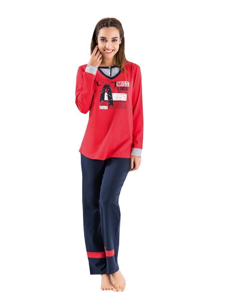 Derya Kurşun 1108 Bayan Uzun Kol Pijama Takımı