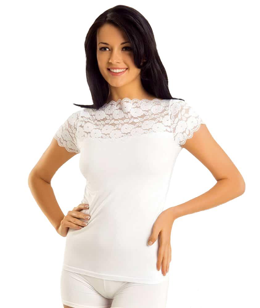 Derya Kurşun 232 Bayan Yakası Geniş Dantelli Kısa Kol Body Tişört