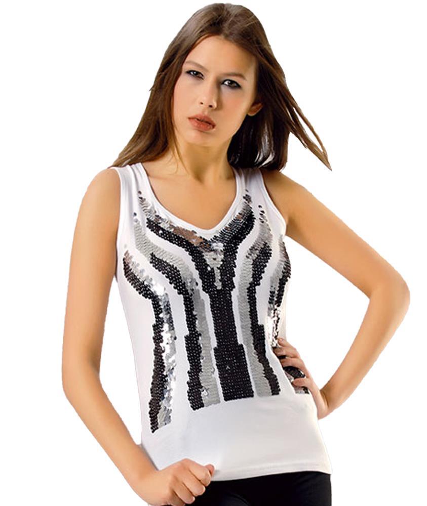 Derya Kurşun 270 Bayan Pul İşlemeli Kolsuz Body Tişört