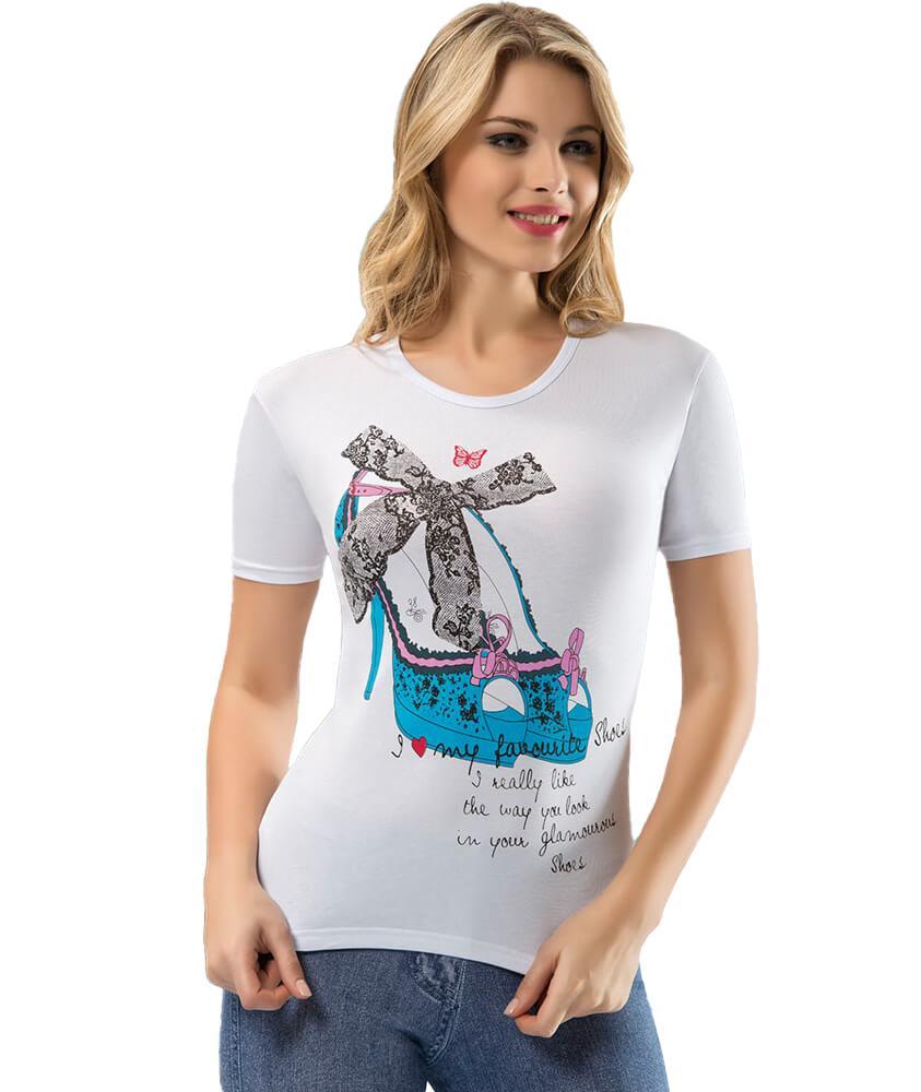 Derya Kurşun 275 Bayan Resimli Yazılı Kısa Kol Body Tişört