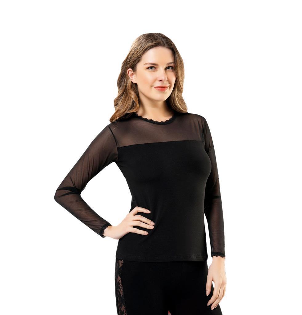 Derya Kurşun 293 Bayan Yakası Kolu Tüllü Uzun Kol Body Tişört