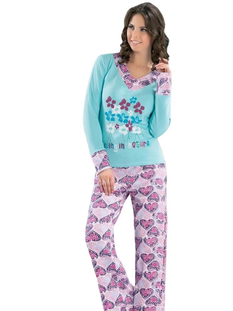 Derya Kurşun 761 Bayan Kalp Desen Uzun Kol Pijama Takımı