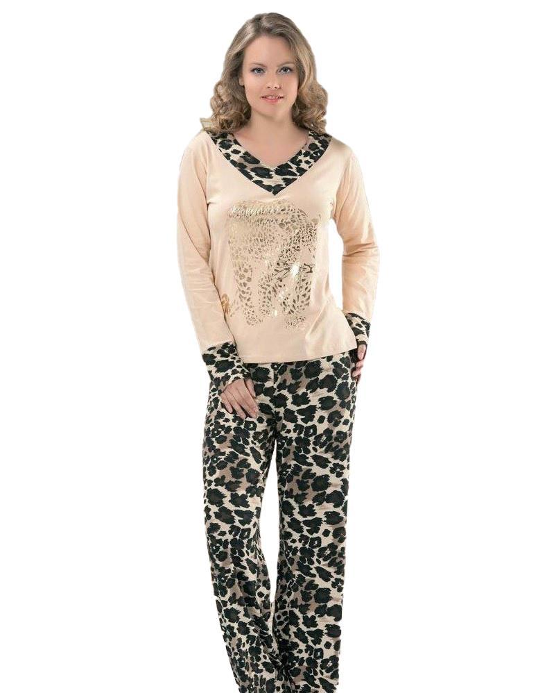 Derya Kurşun 764 Bayan Leopar Desen Uzun Kol Pijama Takımı