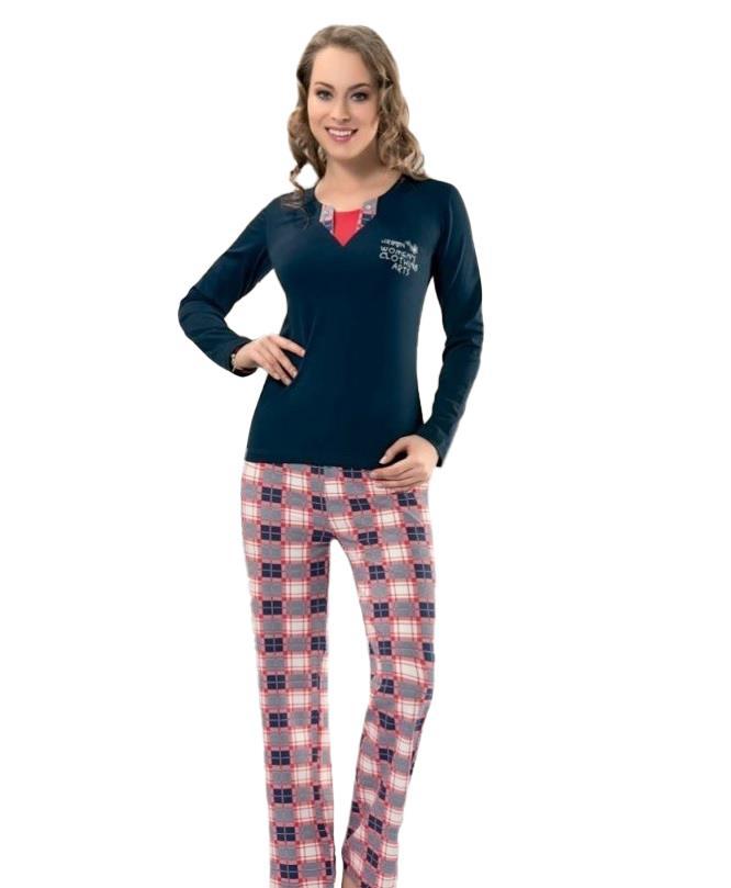 Derya Kurşun 781 Bayan Desenli Uzun Kol Pijama Takımı