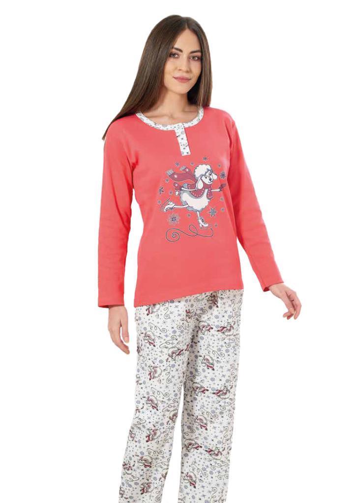 Estiva 19302 Bayan Kuzu Resmi Baskılı İnterlok Pijama Takımı