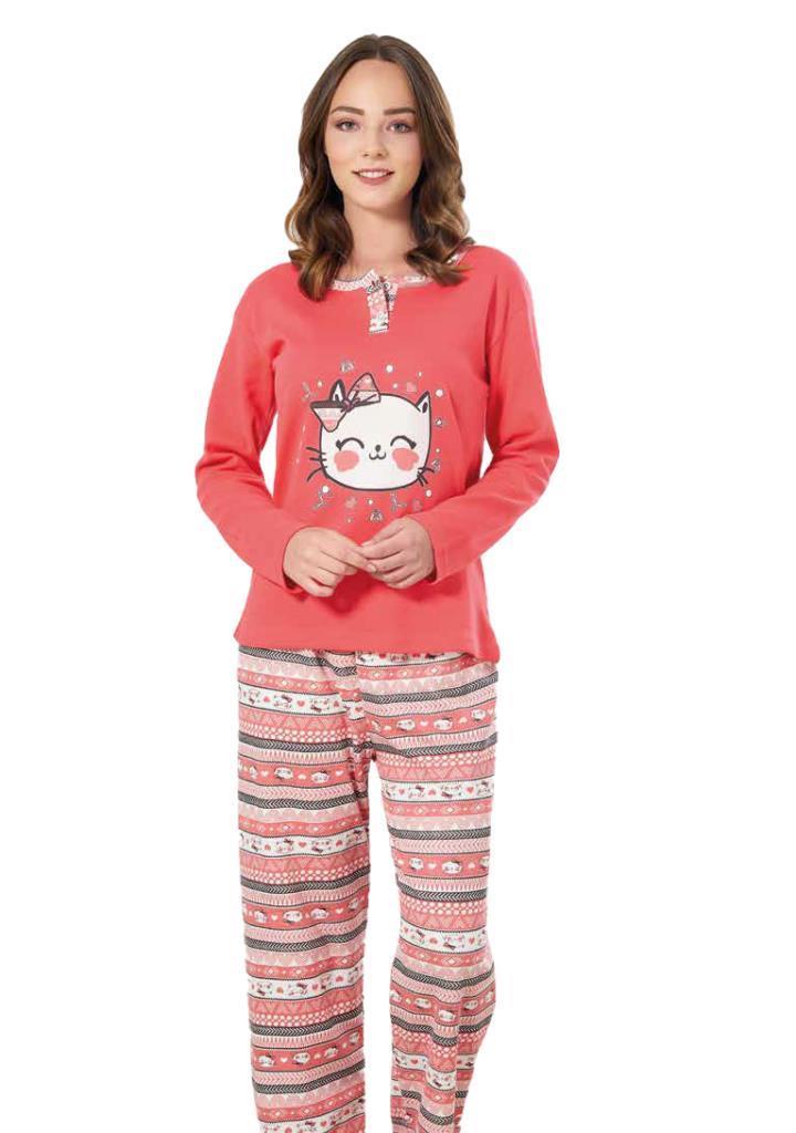 Estiva 19311 Bayan Baskılı İnterlok Pijama Takımı