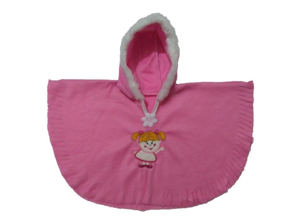 Kız Çocuk Kapşonlu Panço Pelerin Pembe Renk