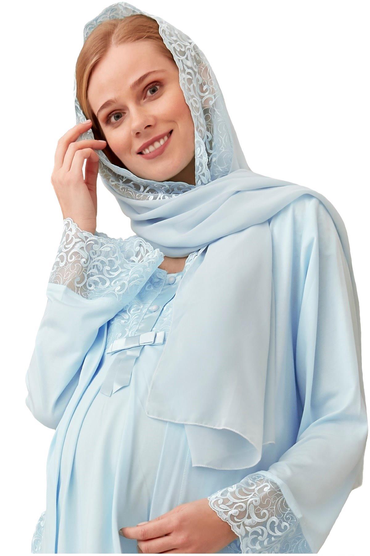 Mecit 016 Kadın Dantelli Şifon Şal Eşarp Mavi Renk
