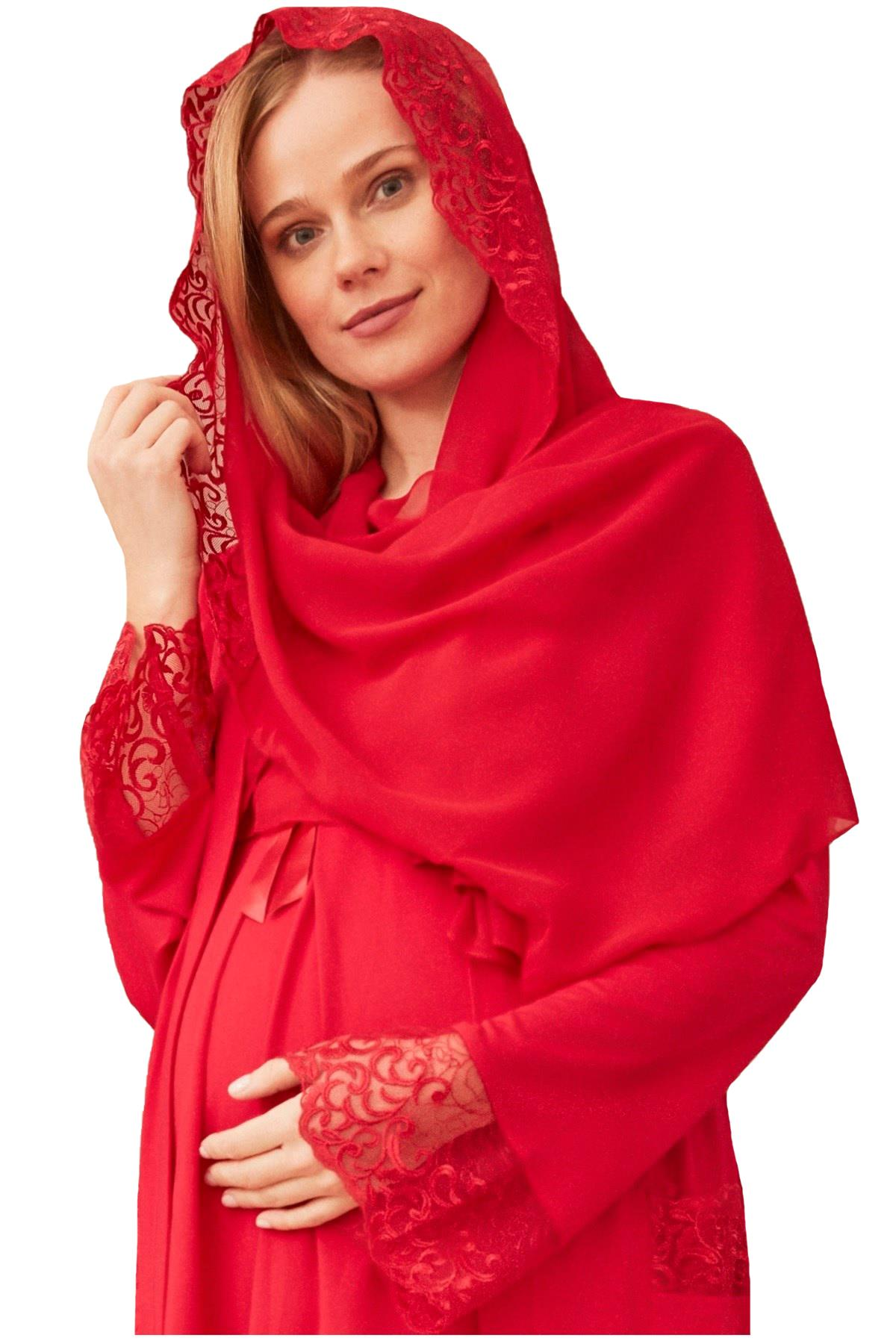 Mecit 017 Kadın Dantelli Şifon Şal Eşarp Kırmızı Renk