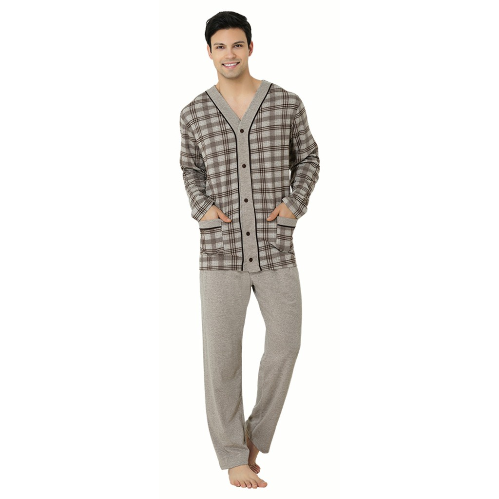 Mecit 2710 Önden Düğmeli Uzun Kollu Büyük Beden Erkek Pijama Takımı