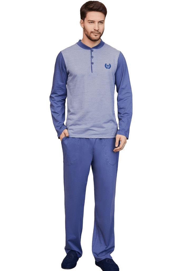 Mecit 2751 Jakarlı Büyük Beden Erkek Uzun Kol Pijama Takımı