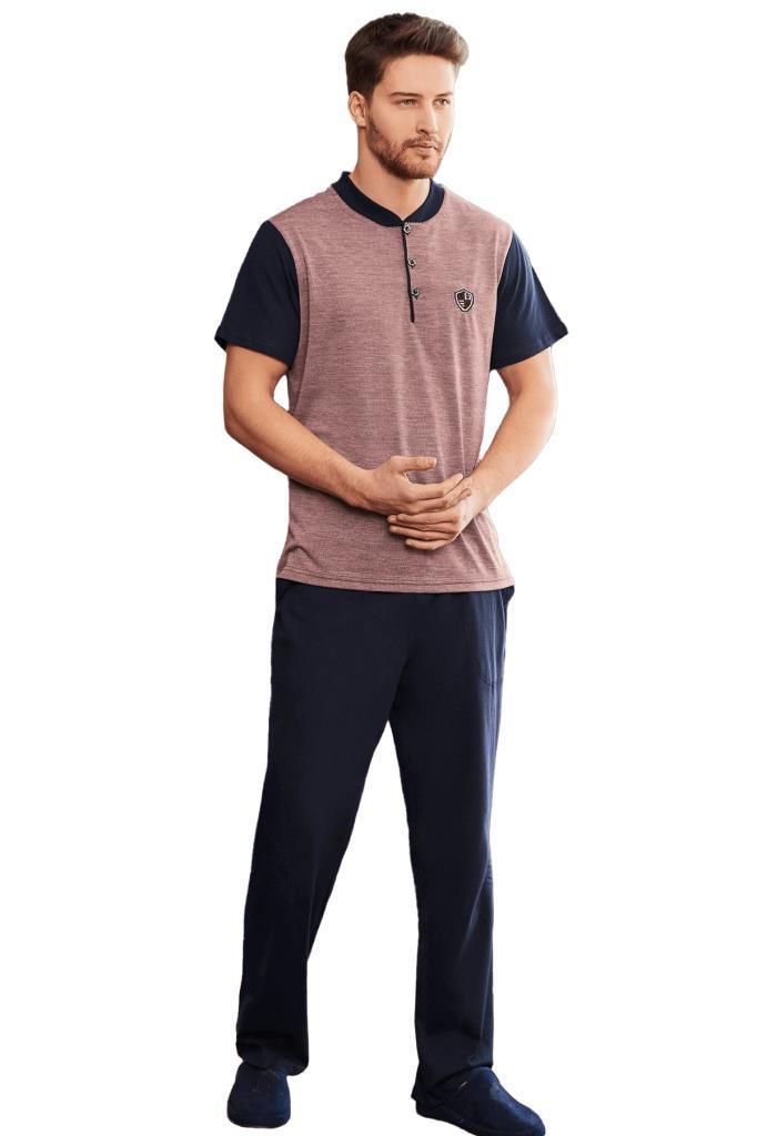 Mecit 2755 Jakarlı Erkek Kısa Kol Pijama Takımı
