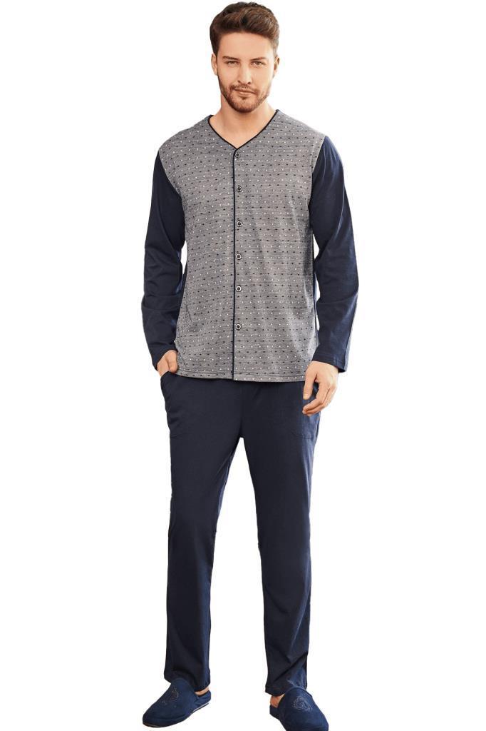 Mecit 2756 Önden Düğmeli Büyük Beden Erkek Uzun Kol Pijama Takımı