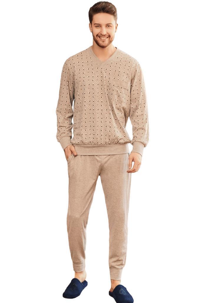 Mecit 2757 Desenli Büyük Beden Erkek Uzun Kol Pijama Takımı