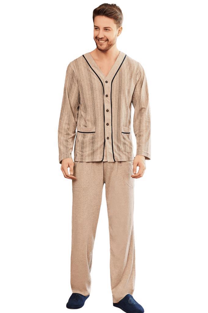 Mecit 2758 Önden Düğmeli Büyük Beden Erkek Uzun Kol Pijama Takımı