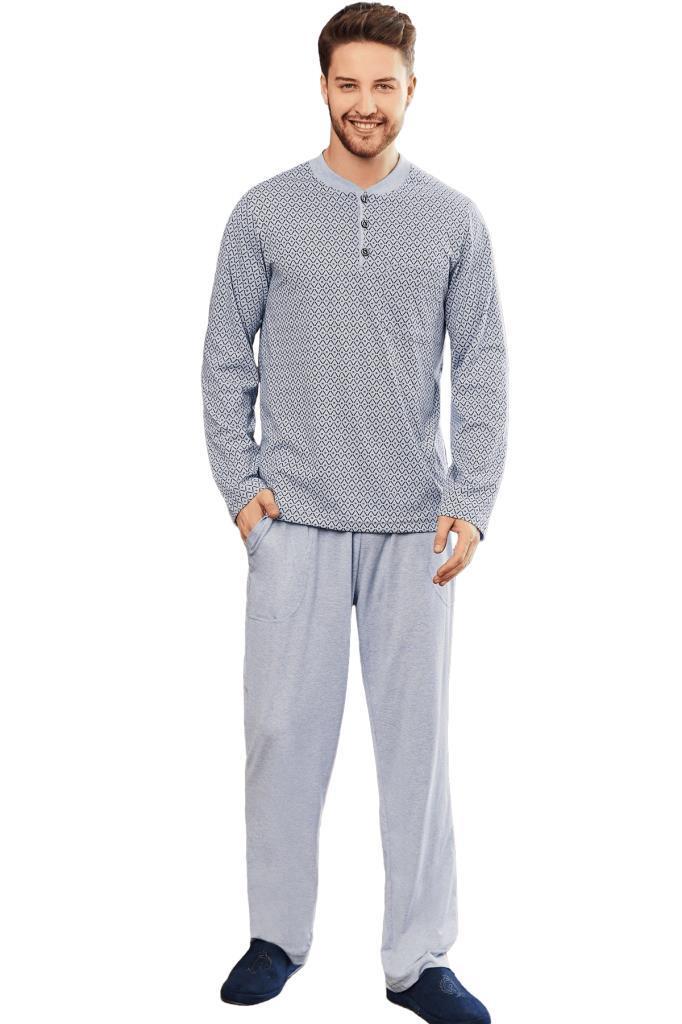 Mecit 2759 Desenli Büyük Beden Erkek Uzun Kol Pijama Takımı