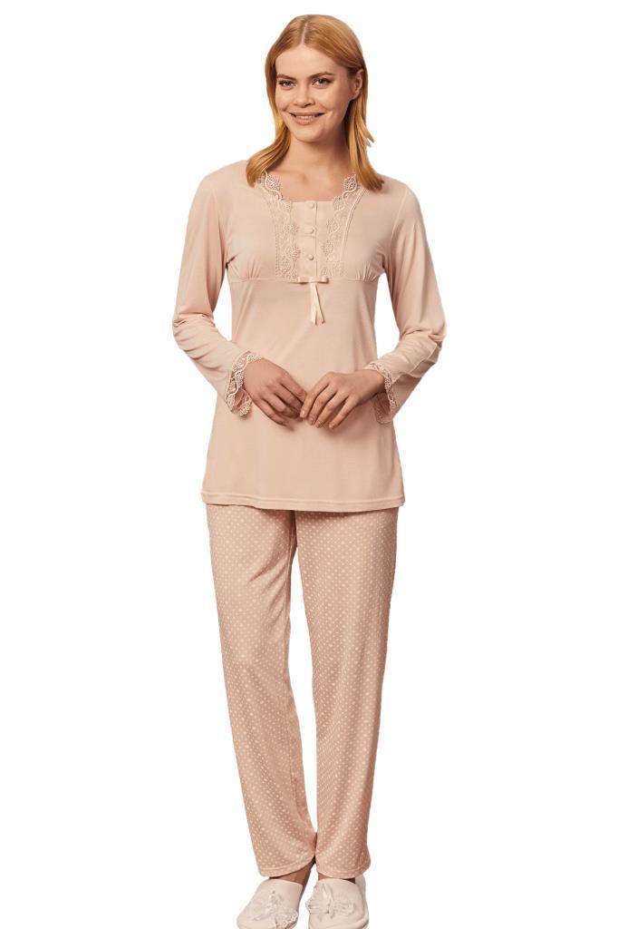 Mecit 5262 Puantiyeli Bayan Büyük Beden Uzun Kol PijamaTakımı