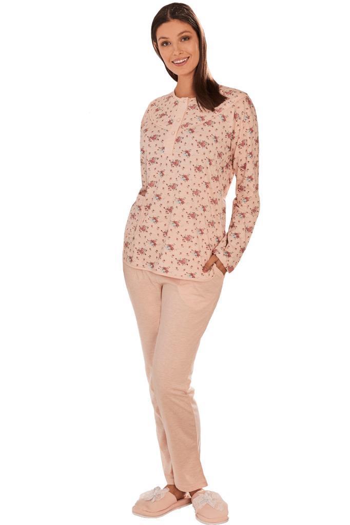 Mecit 5264 Desenli Bayan Büyük Beden Uzun Kol Pijama Takımı