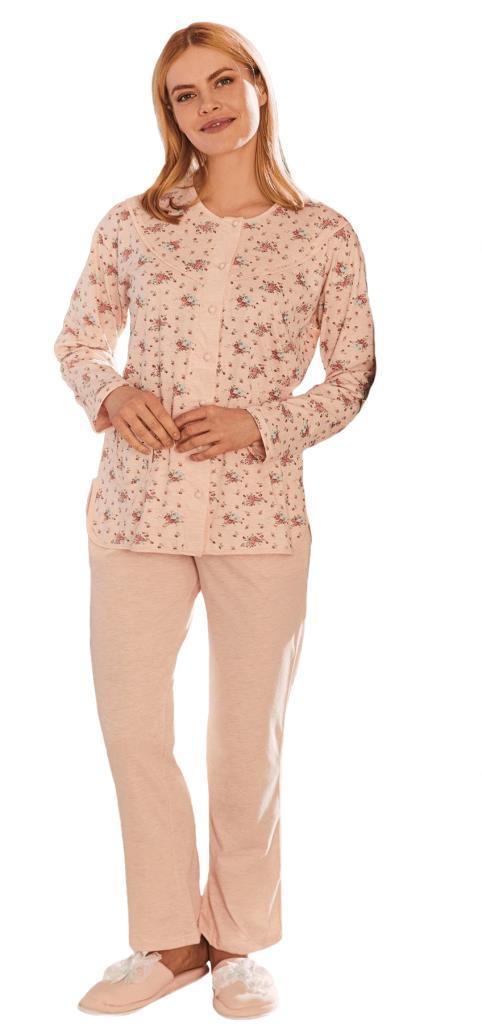 Mecit 5265 Önden Düğmeli Bayan Desenli Büyük Beden Pijama Takımı