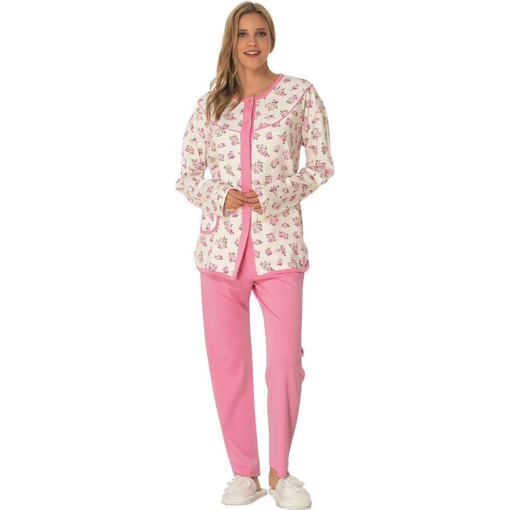 Mecit Bayan Battal Pijama Takımı Pamuklu Önden Düğmeli Pijama1748