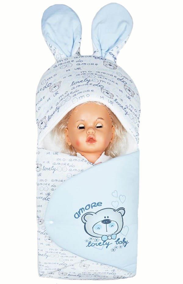 Mecit 088 Bebek Kundağı Ayıcık Resimli Çıtçıtlı Kundak Mavi