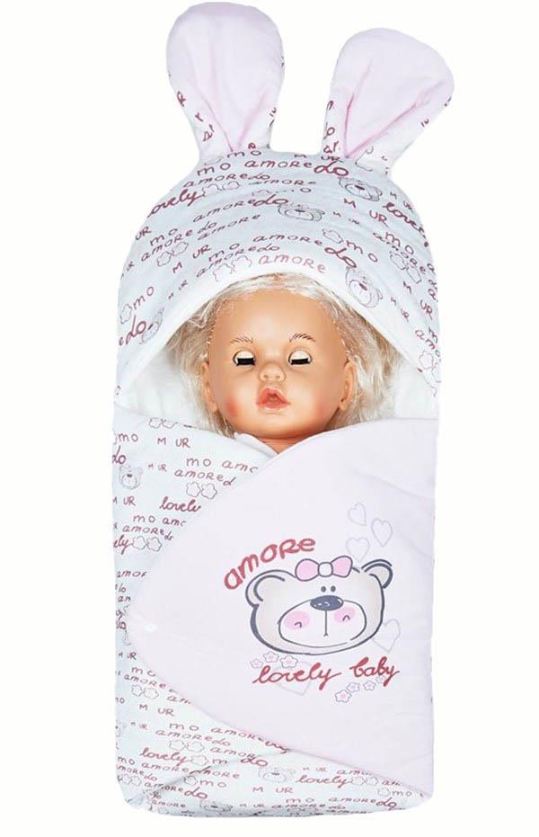 Mecit 089 Bebek Kundağı Ayıcık Resimli Çıtçıtlı Kundak Pembe