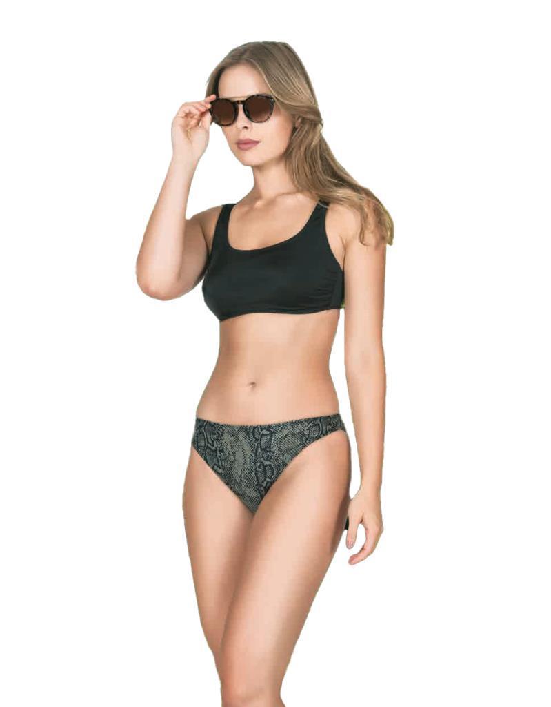 Nbb 55225 Bayan Üstü Düz Siyah Altı Desenli Bikini Mayo