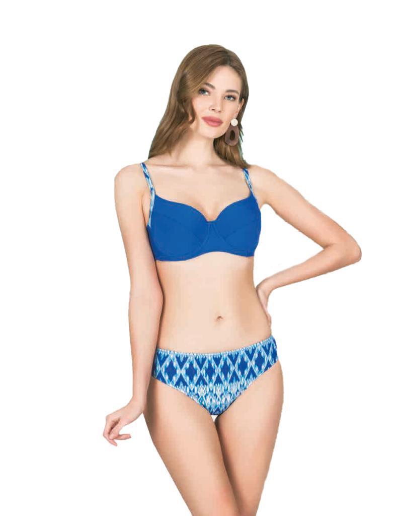 Nbb 55232 Bayan Üstü Düz Renk Altı Desenli Kaplı Bikini Mayo