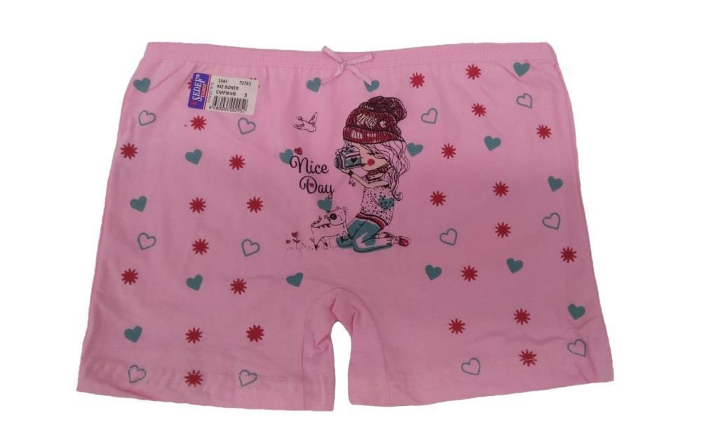 3 lü Paket Sedef Yıldız Kız Çocuk Desenli Boxer Şort Boxer