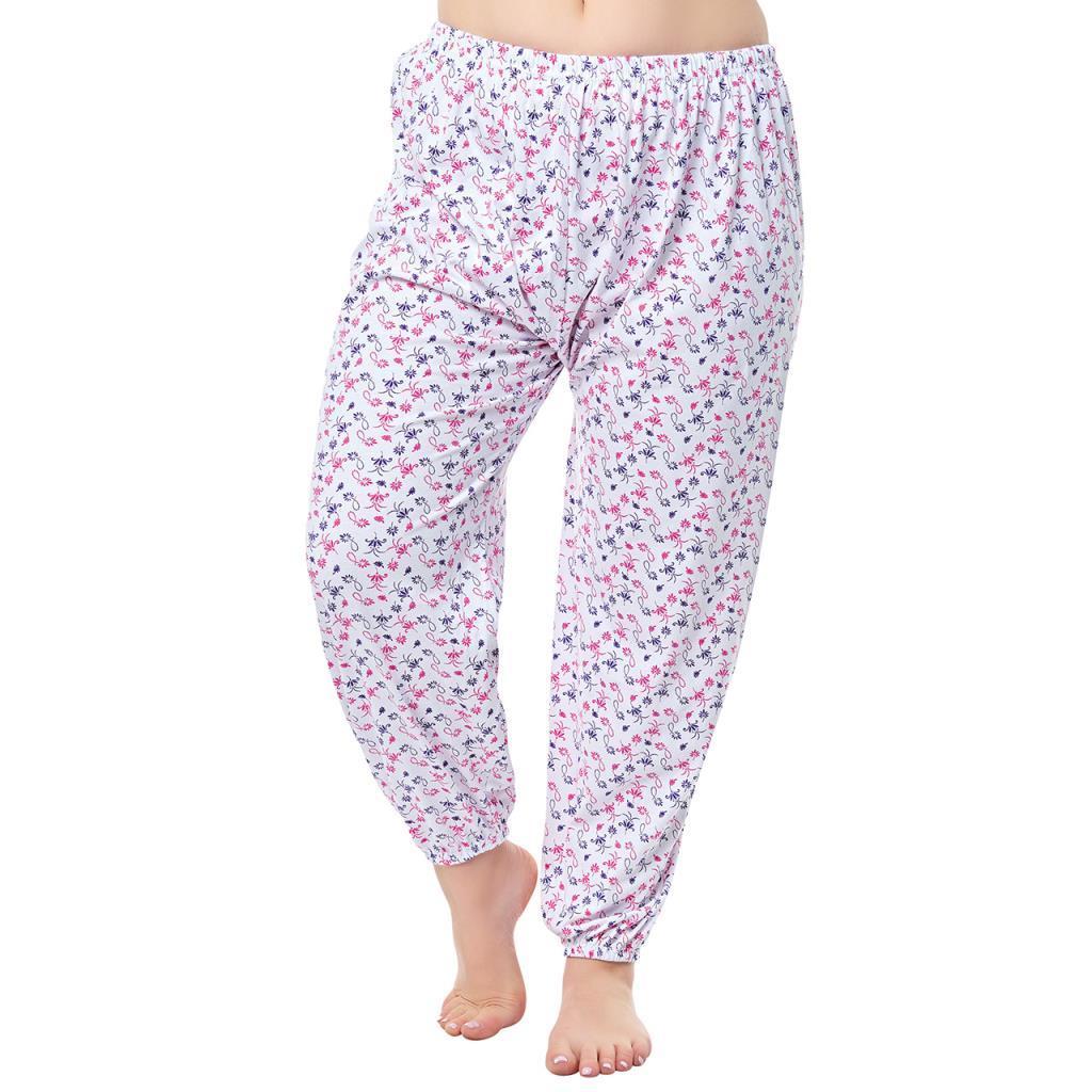 Seher Yıldız Bayan Desenli Lastikli Uzun Anne Pijama Altı