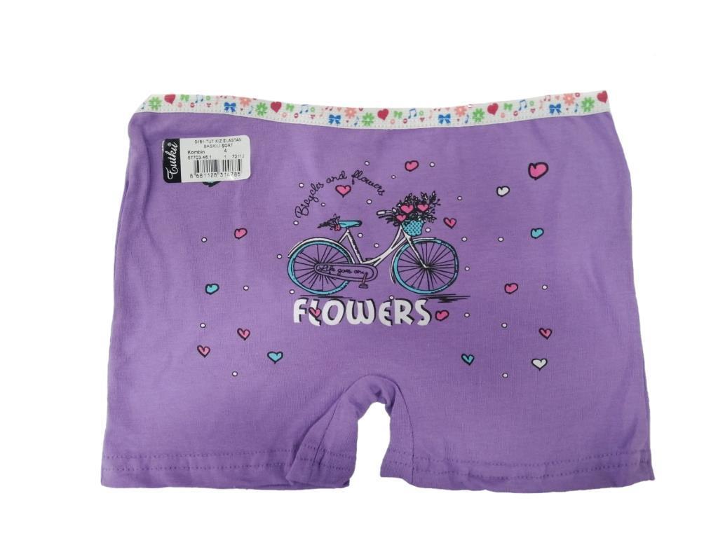 Tutku Kız Çocuk Elastan Renkli Boxer